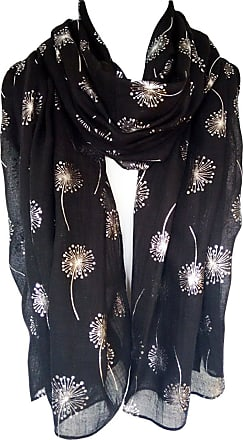 GlamLondon Dandelion Scarf Glitter Dandelions Flower Print Fashion Ladies Womens Classy Party Wrap (Black)