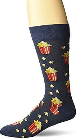 Hot Sox Mens Food and Booze Novelty Casual Crew Socks, Popcorn (Denim Heather) Shoe Size: 6-12