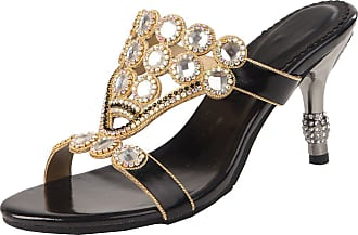 Find Nice Ladies Fashion Wedding Slippers Bride Evening Shiny Rhinestones OL Sandals Black UK 3.5