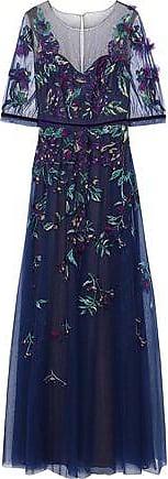 Marchesa Marchesa Notte Woman Floral-appliquéd Embellished Tulle Gown Indigo Size 10