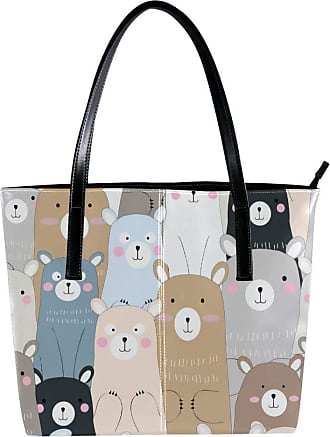Nananma Womens Bag Shoulder Tote handbag with Lovely Bear Face Print Zipper Purse PU Leather Top-handle Zip Bags