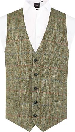 Dobell Scottish Harris Tweed Mens Green Herringbone Tweed Waistcoat Regular Fit-M (38-40in)