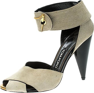 139b1c577bc Tom Ford Beige Suede Cross Ankle Wrap Peep Toe Sandals Size 37