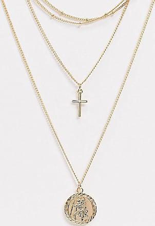 Asos Curve ASOS DESIGN Curve multirow necklace with dot dash chain choker and coin in gold tone