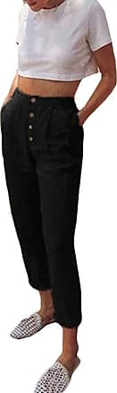 JERFER Women High Waist Long Pants Solid Color Button Casual Pencil Pocket Trousers Fashion Causal Sexy Pants Black