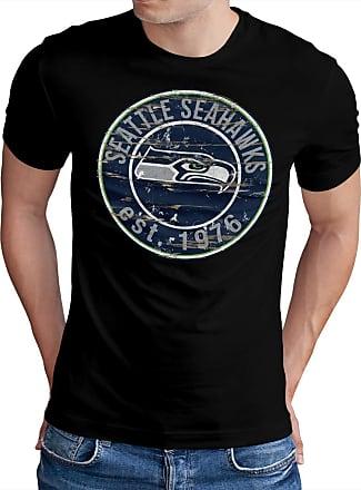 OM3 Seattle-Badge - T-Shirt | Mens | American Football Shirt | L, Black