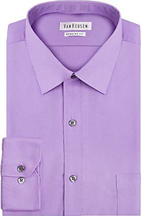 Van Heusen Mens Pincord Regular Fit Solid Spread Collar Dress Shirt, Lilac, 17.5 Neck 32-33 Sleeve