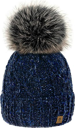 4sold Womens Ladies Chunky Soft Cable Knit Handmade Hat Natural Alpaca Wool Inside Cosy Fleece Liner Faux Fur Pom Pom (Navy)