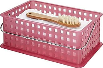 InterDesign iDesign Spa Plastic Storage Organizer Basket with Handle for Bathroom, Health, Cosmetics, Hair Supplies and Beauty Products, 14 x 9 x 5 - Pink