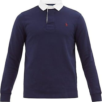 Polo Ralph Lauren Logo-embroidered Cotton-jersey Rugby Shirt - Mens - Navy