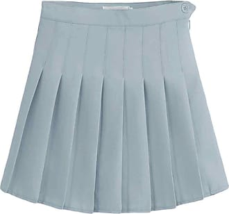 Inlefen Womens High Waist Quick-Dry Pleated Slim Fit Skirt Sport Workout and Fitness Tennis Mini Shorts Skater Skorts with Side Zipper(Gray/2XL)