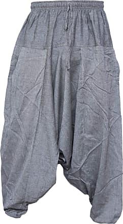 Gheri Mens Light Cotton Drop Crotch Ninja Aladdin Genie Harem Pants Trousers Light Grey LXL