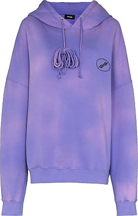 We11done bleached logo hoodie - PURPLE