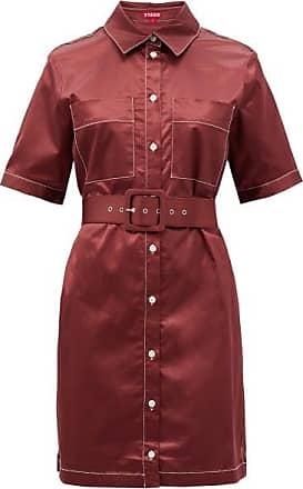 Staud Bentley Cotton-blend Satin Shirt Dress - Womens - Burgundy