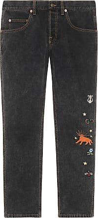 Gucci Calça jeans bordada - Preto