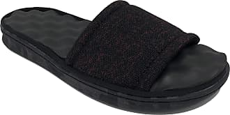 Dearfoams Mens Massage Step Slide Sandal Slippers Black Size: L