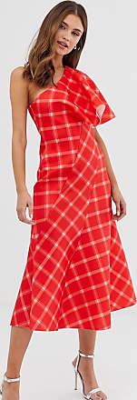 Asos one shoulder seamed checked midi dress-Red