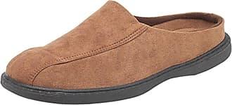 Zedzzz New Mens Gents Mule Slippers Hard Weaing Sole Brown Navy Faux Suede Size UK 6 - 12 (11, BROWN)