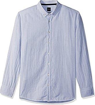 bf52c04c6 HUGO BOSS BOSS Orange Mens Long Sleeve Classic Stripe Sport Shirt, Blue  Medium