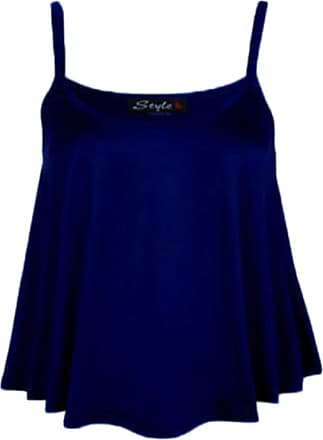 Top Fashion18 Womens Plus Plain Strappy Swing Cami Ladies Sleeveless Stretch Vest Top 8-26 Navy