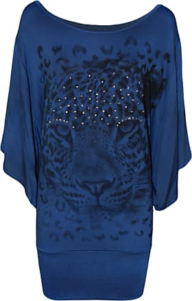 WearAll Ladies Tiger Print Glitter Batwing Womens Top - Blue - 24/26