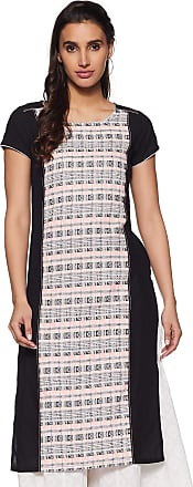 Aurelia Womens Cotton Straight Kurta (19FEA10487-700022_ Black_ Large)