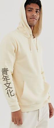 Asos felpa oversize con cappuccio e stampa giapponese sul retro bianco asos bianco cotone