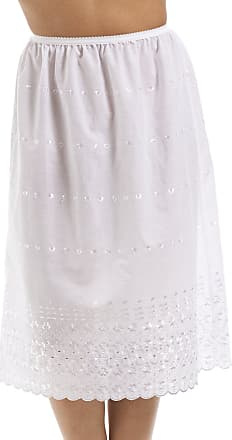 Camille Womens Classic White Embroidered 26 Half Length Lace Trim Under Skirt Slip 22/24