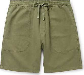 Ymc You Must Create Cotton And Linen-blend Drawstring Shorts - Green