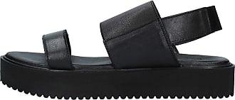Inuovo Sandal with Wedge in Black Metallic Leather Elastic Closure, 5 cm Heel MOD. 128012 Black Black Size: 8 UK