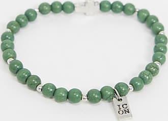 Icon Brand Icon - Bracciale verde con perline e ciondolo a croce