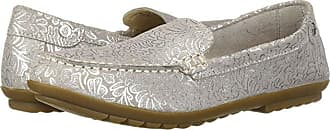 Hush Puppies Aidi Mocc Slip-On (Silver Metallic Print Leather) Womens Slip on Shoes