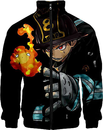 Haililais Fire Force Episode Pullover High Collar Jacket Zipper Jacket Cartoon Personality Printed Sweatshirt Tops Multiple Sizes Unisex (Color : A03, Size : XX