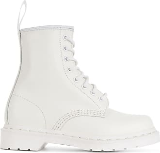 Dr. Martens Ankle boot de couro e camurça com cadarço - Branco