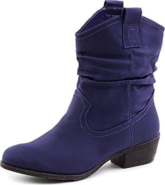 2ab35e633ad70a Marimo Damen Stiefel Stiefeletten Western Biker Boots Lederoptik Blau 36