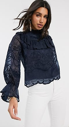 Y.A.S Blusa in pizzo blu navy con volant