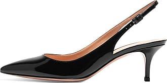 EDEFS Womens Pointed Toe Slingback Court Shoes 6.5cm Kitten Heel Patent Pumps Black Size EU39