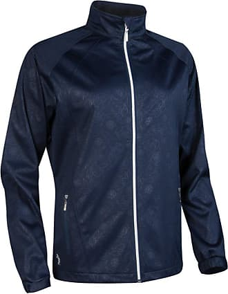 Glenmuir Ladies LW2586ZT Water Repellent Embossed Patterned Zip Front Performance Jacket Navy XXL