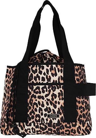 Ganni Tote Bag Recycled Tech Fabric Leopard Shopper braun