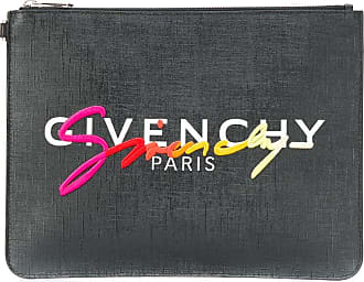 Givenchy Clutch com zíper e logo bordado - Preto
