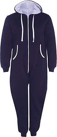 Islander Fashions Adults Zip Up Onsie1 Hooded Playsuit Unisex Thermal All in One Sports Jumpsuit Navy Blue 5X Large