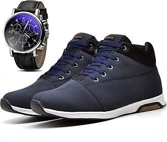 Juilli Kit Sapatênis Tênis Cano Médio Casual Com Relógio Masculino Juilli 1101DB Tamanho:39;cor:Azul;gênero:Masculino