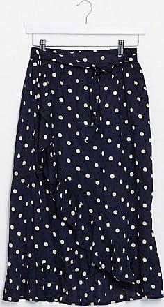 Object wrap midi skirt in navy spot