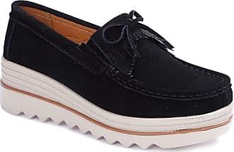 Daytwork Wedge Loafer Flat Shoes Women - Ladies Comfort Boat Deck Shoes Walking Daily Wear Moccasin Casual Flat Platform Slip On Shoes Black