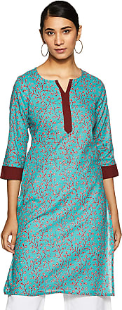 Indigo Womens Cotton Straight Kurti (SS-19/KMN-2 A_ Teal_ M)