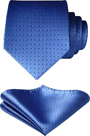 Hisdern Mens Check Dot Tie Handkerchief Wedding Party Necktie & Pocket Square Set Blue