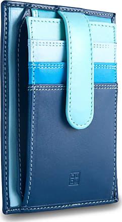 DuDu Porta carte di credito in pelle multicolore con fettuccia DUDU Blu