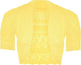 Womens Ladies Open Front Short Sleeve Knitted Crochet Crop Shrug Cardigan Top