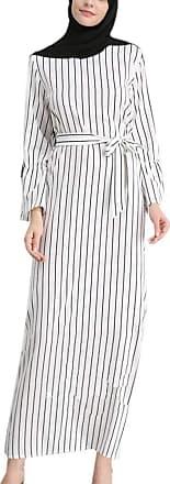 Hellomiko Worclub Muslim Fashion Womens wear, Muslim Striped Trumpet Sleeve Dress for Women Long Sleeve Lightweight Dress Abaya Islamic Clothing White S