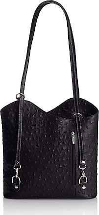 Chicca Borse Handbag leather womans shoulder 28 x 30 x 9 cm - mod. Anita